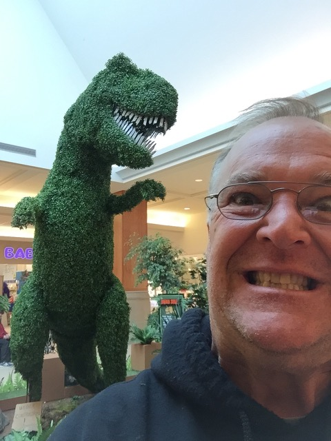 Topiary Joe with dinosaur